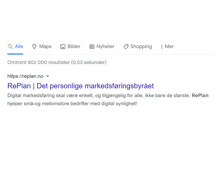 Replan det personlige markedsføringsbyrået metabeskrivelse eksempel